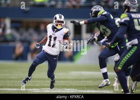 Seattle, WA, USA. 17th Dec, 2017. Los Angeles Rams wide receiver Tavon Austin (11) runs with the ball during a game - Stock Photo