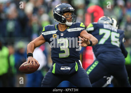 Seattle, WA, USA. 17th Dec, 2017. Seattle Seahawks quarterback Russell Wilson (3) passes the ball during a game - Stock Photo