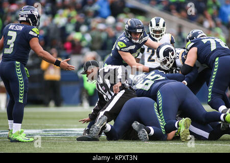 Seattle, WA, USA. 17th Dec, 2017. A fight breaks out during a game between the Los Angeles Rams and Seattle Seahawks - Stock Photo
