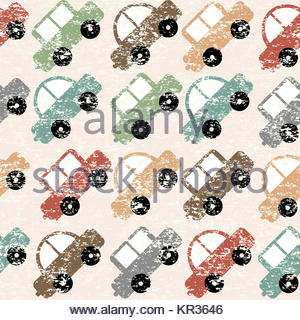 Vintage background with cartoon cars - Stock Photo
