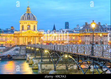 night scene of French institute - Stock Photo