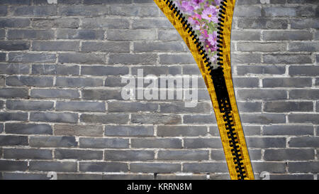 3d rendering close up zipper texture on isolated background with copy space - Stock Photo