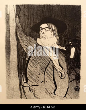 Aristide Bruant by Henri de Toulouse-Lautrec, undated, brush, crayon, and spatter lithograph on wove paper, only - Stock Photo