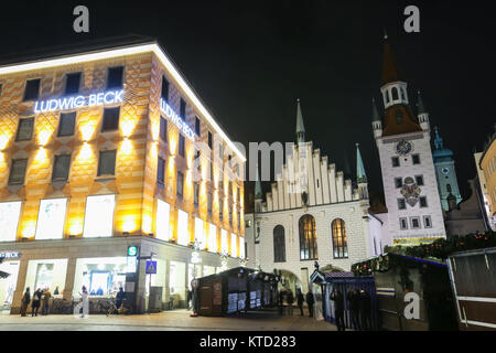 department store ludwig beck on marienplatz in munich at night stock photo royalty free image. Black Bedroom Furniture Sets. Home Design Ideas