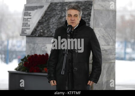 Moscow, Russia. 25th Dec, 2017. The president of the Krasnaya Zvezda (Red Star) media group, Alexei Pimanov speaks - Stock Photo