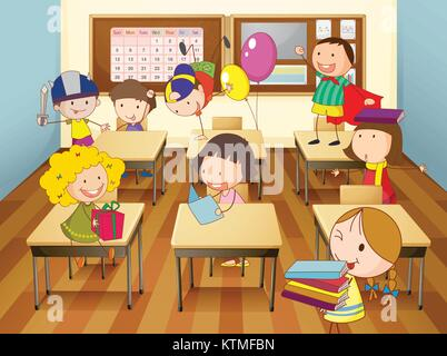 Education cartoon about students misbehaving in class Stock Photo: 138041188 - Alamy