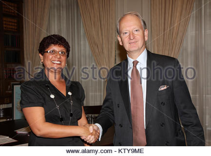UK Foreign Office Minister Henry Bellingham meeting Ascension Island Councillor Kitty George in London, 22 November - Stock Photo