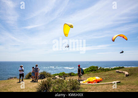 People paragliding and hang gliding at long reef point, Long Reef acquatic reserve,Sydney,Australia - Stock Photo