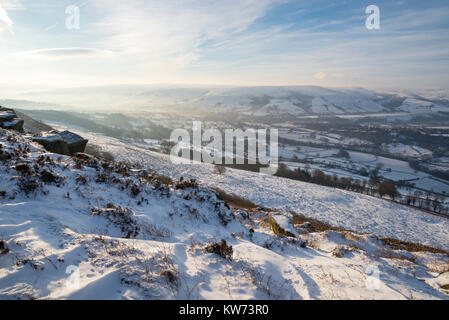Beautiful winter morning at Bamford Edge in the Peak District national park, Derbyshire, England. - Stock Photo