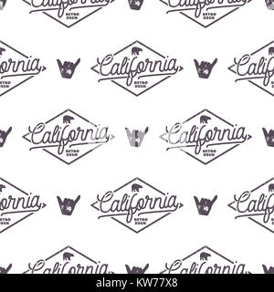 California Surfing monochrome seamless pattern with shaka sign and typography elements. Wilderness wallpaper design. - Stock Photo
