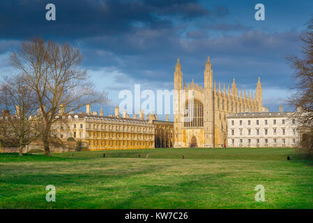 King's College Cambridge, view from the Backs (water meadow) towards the western end of King's College Chapel in - Stock Photo