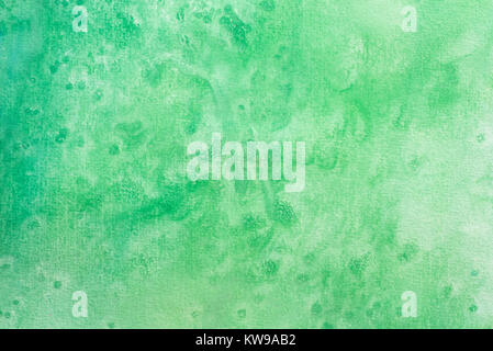 green color watercolor painting on white paper background texture - Stock Photo