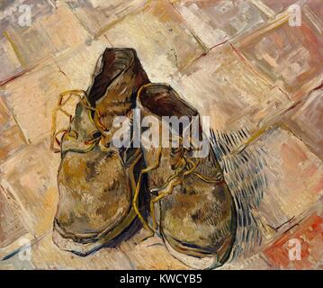 Shoes, by Vincent Van Gogh, 1888, Dutch Post-Impressionist, oil on canvas. These worn shoes were painted on the - Stock Photo