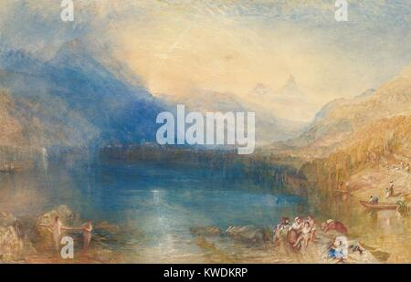 THE LAKE OF ZUG, by Joseph Mallord William Turner, 1843, American watercolor painting. This watercolor was painted - Stock Photo
