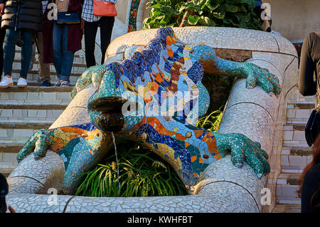 Barcelona, Spain - October 30, 2015: Dragon statue in Park Guell, Barcelona - Spain - Stock Photo