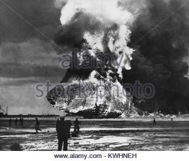 HINDENBURG DISASTER 6 May 1937. German passenger airship LZ 129 - Stock Photo
