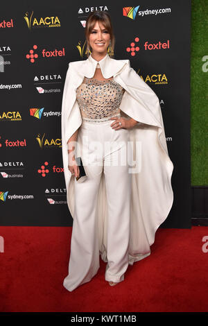 Hollywood, California, USA. 5th Jan, 2018. Delta Goodrem arrives for the AACTA International Awards at Avalon Hollywood. - Stock Photo