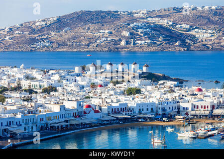 The Mykonos windmills are iconic feature of the Greek island of the Mykonos. The island is one of the Cyclades islands - Stock Photo