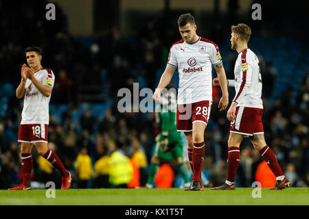 Manchester, UK. 06th Jan, 2018. Kevin Long of Burnley looks dejected after the FA Cup Third Round match between - Stock Photo