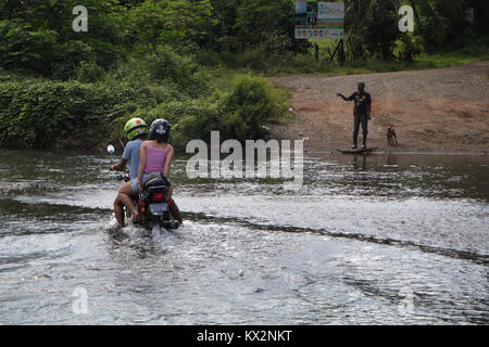 Car crossing river near Drake Bay Costa Rica Osa Peninsula - Stock Photo