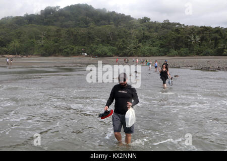 Tourist wading in ocean to boat view from ocean Corcovado national Park Osa Peninsula Costa Rica - Stock Photo