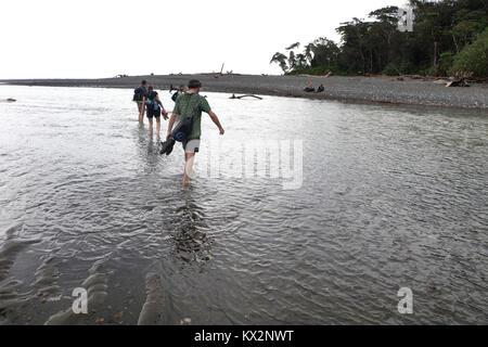 Hiker crossing river Osa Peninsula Costa Rica beach primary rain forest. Tropical Jungle tree - Stock Photo