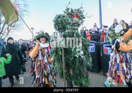 London UK. 7th January 2018.The Holly Man, the winter guise of the Green Man, a character from pagan myths and folklore - Stock Photo
