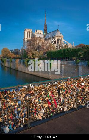 Paris Seine River, view from the Pont de l'Archeveche of Notre Dame Cathedral at sunrise, central Paris, France. - Stock Photo