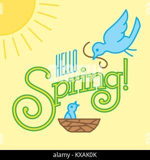 Hello Spring Vector Design with cute bird drawings. Contemporary flat vector mono line drawing shows mother bird - Stock Photo