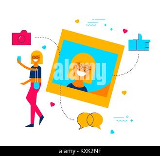 Young woman posting selfie photo on social media network app,  modern flat art style illustration with symbols and - Stock Photo