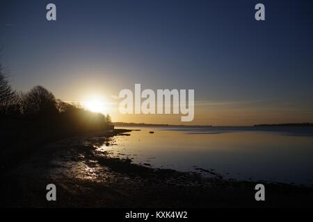 Sunrise over the Exe Estuary on a Fine, Tranquil Winter Morning, from The Goat Walk - Stock Photo