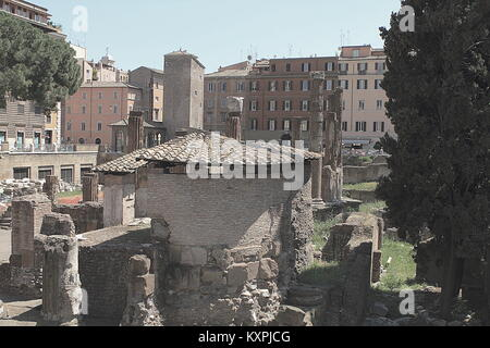 View of ancient Rome ruins at the square Largo di Torre Argentina. Rome, Italy - Stock Photo