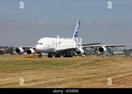Air Bus A380 at Farnborough Airshow - Stock Photo