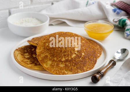 thin pancake and some sweet honey Stock Photo, Royalty ...