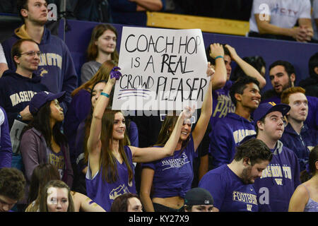 Seattle, WA, USA. 11th Jan, 2018. Dawg Pack fans show their appreciation for Coach Hopkins during a PAC12 basketball - Stock Photo