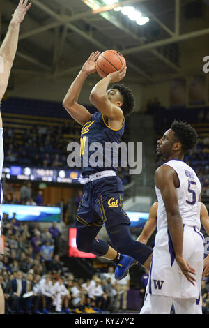 Seattle, WA, USA. 11th Jan, 2018. Cal guard Justice Sueing (10) puts up a shot during a PAC12 basketball game between - Stock Photo