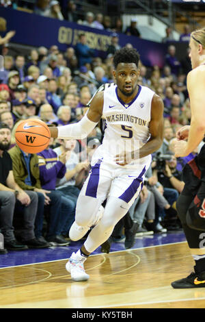 Seattle, WA, USA. 13th Jan, 2018. UW freshman guard Jaylen Nowell (5) in actin during a PAC12 basketball game between - Stock Photo