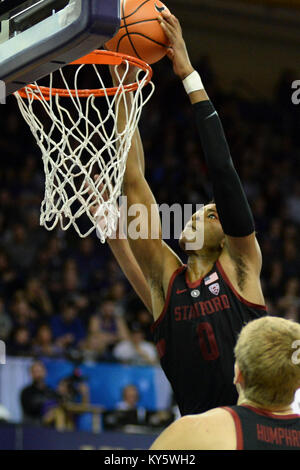 Seattle, WA, USA. 13th Jan, 2018. Stanford's Kezie Okpala (0) dunks for 2 of his 10 points during a PAC12 basketball - Stock Photo