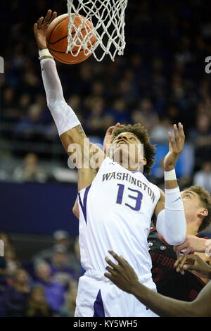 Seattle, WA, USA. 13th Jan, 2018. UW forward Hameir Wright (13) grabs a defensive rebound during a PAC12 basketball - Stock Photo