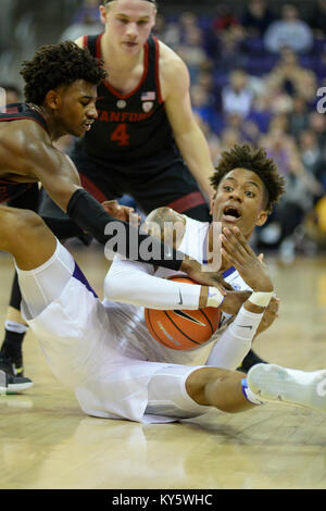 Seattle, WA, USA. 13th Jan, 2018. UW forward Hameir Wright (13) tries to call time out while hustling after a loose - Stock Photo