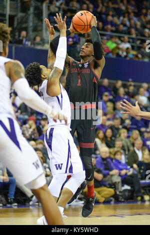 Seattle, WA, USA. 13th Jan, 2018. Stanford's freshman point guard Daejon Davis (1) pulls up for a shot against UW - Stock Photo