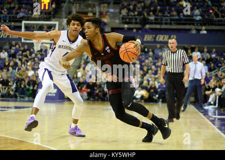 Seattle, WA, USA. 13th Jan, 2018. Stanford's Kezie Okpala (0) in action against Washington's Matisse Thybulle (4) - Stock Photo
