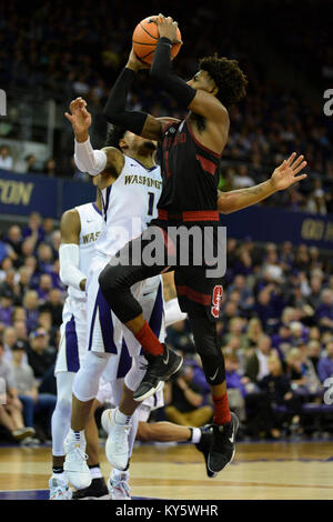 Seattle, WA, USA. 13th Jan, 2018. Stanford's freshman point guard Daejon Davis (1) puts up a running shot against - Stock Photo