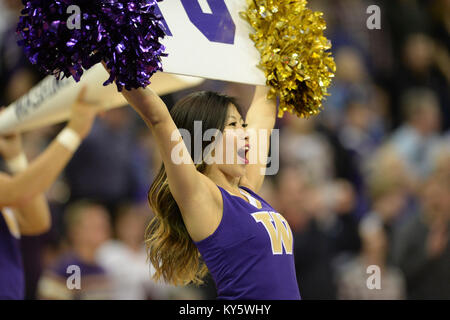 Seattle, WA, USA. 13th Jan, 2018. The Washington Cheer group perform during a time out in a PAC12 basketball game - Stock Photo