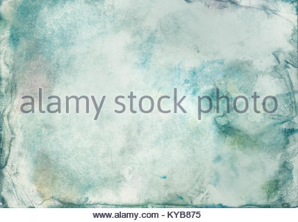 Grunge abstract background of watercolor paint blurred green color on paper with texture, in middle of an empty - Stock Photo