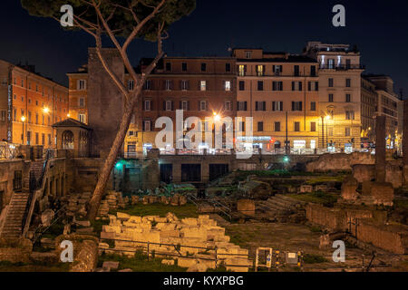 Rome, Italy, february 15, 2017: night view of the ancient roman ruins in Largo di Torre Argentina in Rome - Stock Photo