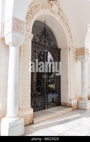 LIVADIA, RUSSIA - MARCH 21, 2011: Black metal gate of Livadia Palace. - Stock Photo
