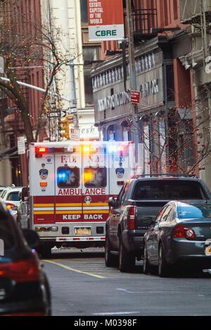 NEW YORK, USA - DECEMBER, 2017: FDNY ambulance - emergency wagon in Manhattan - Stock Photo