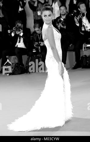 Penelope Cruz attends the premiere for Loving Pablo during the 74th Venice Film Festival in Venice, Italy. 6th September - Stock Photo