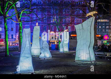 London, UK. 18th Jan, 2018. NIGHTLIFE by Lantern Company with Jo Pocock in Leicester Square - Lumiere London is - Stock Photo